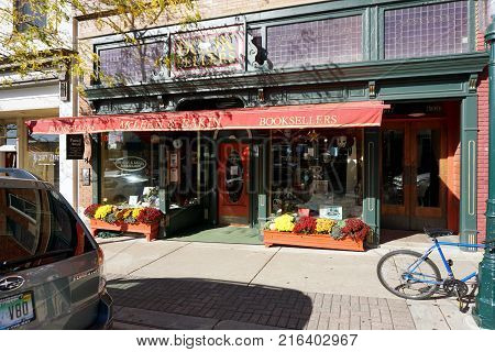 PETOSKEY, MICHIGAN / UNITED STATES - OCTOBER 18, 2017: One may purchase books at McLean and Eakin, Booksellers, on Lake Street in downtown Petoskey.
