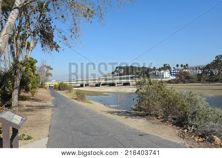 DANA POINT, CA - DECEMBER 1, 2017: Salt Creek Trail. The 5 mile trail begins in Laguna Niguel and ends at the ocean in Dana point at Doheny State Beach.