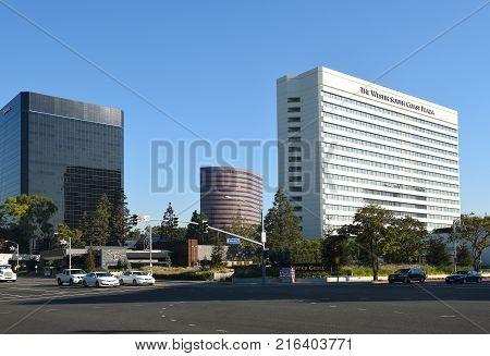 COSTA MESA, CA - DEC 1, 2017: Westin South Coast Plaza. Hotel guests can access the world famous South Coast Plasa mall via a pedestrian bridge.