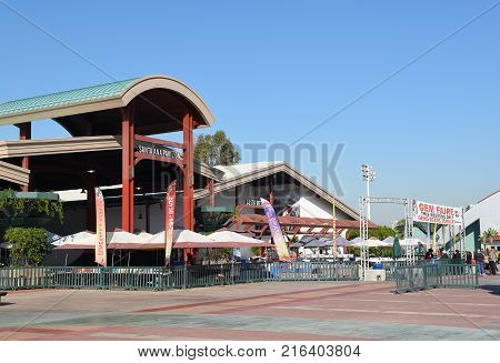 COSTA MESA, CA - DEC 1, 2017: Exhibit Pavilions at the OC Fair and Event Center. The buildings host exhibitions and events throughout the year.