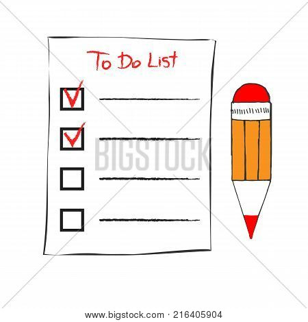 To do list icon in doodle sketch lines. Office report information. Sketch hand with clipboard checklist and pen isolated on white background vector illustration. Checklist and pencil tick
