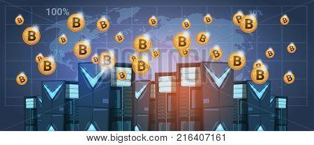 Bitcoin Mining Farm Data center Over World Map Digital Crypto Currency Modern Web Money Vector Illustration