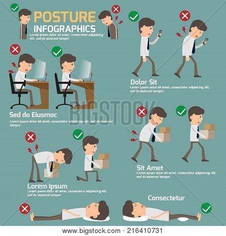People incorrect posture and correct posture infographic cartoon character health care vector illustration.