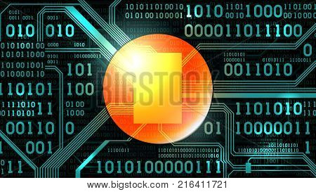 Abstract futuristic background with electronic circuit board binary code and round place for text symbol logo computer digital technology frame well organized layers