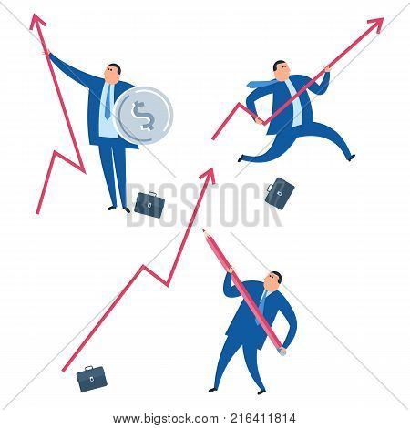 The business improve and growth concept. Businessman with red increasing graph arrow. Success flat vector illustration of man drawing an increase arrow, running with graph and protecting business.