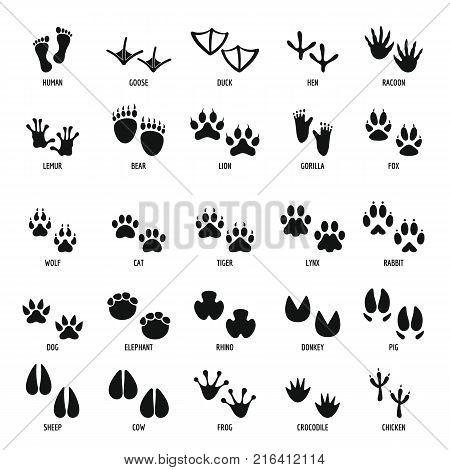 Animal footprint icons set. Simple illustration of 25 animal footprint vector icons for web