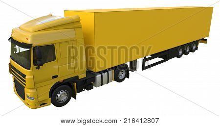 Large yellow truck with a semitrailer. Template for placing graphics. 3d rendering