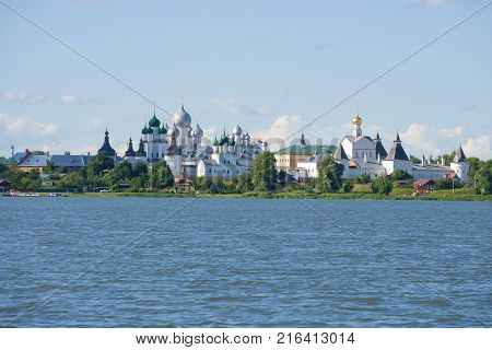 View of the Kremlin of Rostov Veliky from the Nero lake in the sunny July afternoon. Golden Ring of Russia