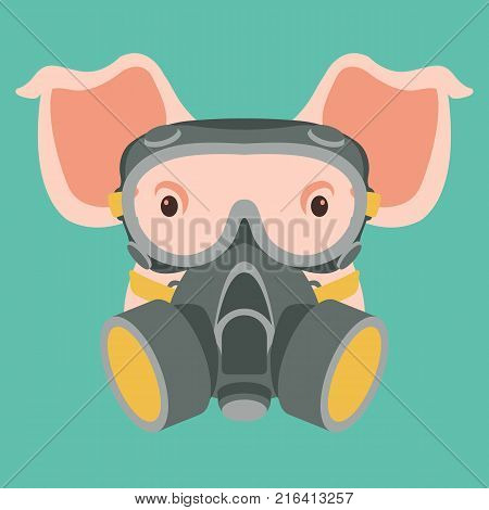 pig face in gas mask vector illustration flat style front view