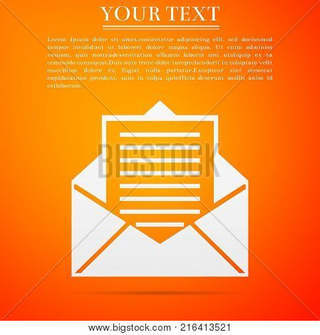 Mail and e-mail icon isolated on orange background. Envelope symbol e-mail. Email message sign. Flat design. Vector Illustration