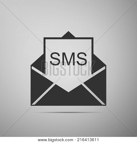 Received message concept. New, email incoming message, sms. Mail delivery service. Envelope with sms icon isolated on grey background. Flat design. Vector Illustration