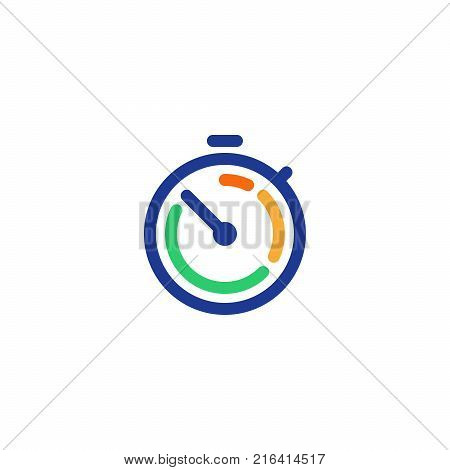 Fast time logo, stop watch symbol,  time period concept, working hours,  quick timely delivery, express and urgent services, deadline and delay, vector line icon