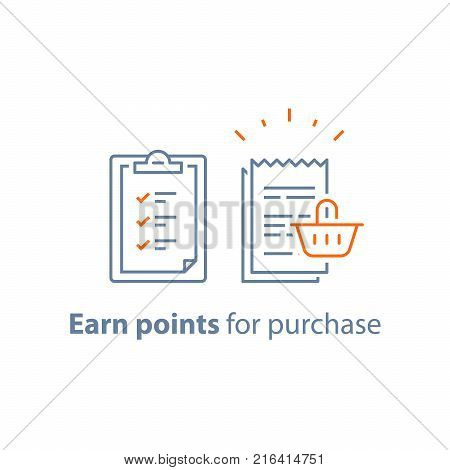 Earn points, loyalty program, marketing concept, till slip with shopping basket, vector line icon, thin stroke illustration