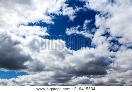 blue cloudy sky, white clouds, cloudy weather
