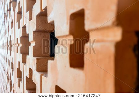 Orange Brick Wall Pattern In Perspective View