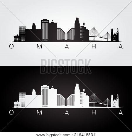 Omaha usa skyline and landmarks silhouette black and white design vector illustration.