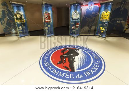 Toronto Canada - Oct 20 2017: The hockey hall of fame in Toronto. The hall of fame is dedicated to the history of ice hockey.