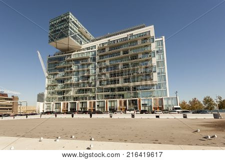 Toronto Canada - Oct 20 2017: Contemporary luxury residential apartment building at the waterfront in Toronto Canada