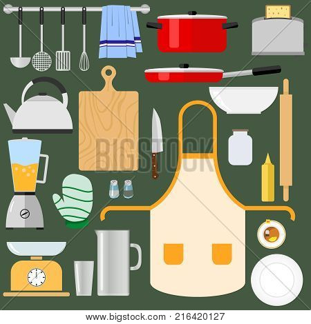 Kitchen utensils and items for cooking. A large set of kitchen items. Flat design vector illustration vector.