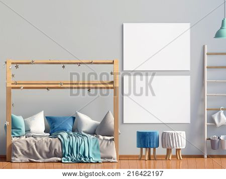 Interior of the childroom. sleeping place. modern style. 3d illustration. Mock up poster.