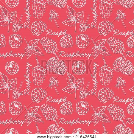 Raspberry graphic color seamless pattern illustration. Seamless background with hand drawn decorative raspberries design elements. Can be used for invitations greeting cards gift wrap Food background.