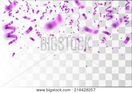 Purple Confetti isolated. Vector Festive Illustration of Falling Shiny Confetti Isolated on Transparent Background.