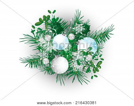 Abstract Christmas background with needles and balls