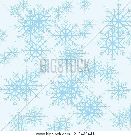 Seamless cold winter pattern with blue snowflakes