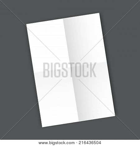 Blank folded Paper Page blank A4 mockup. Isolated