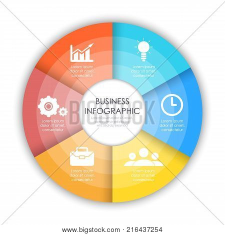 Round infographic diagram. Circles of 6 elements. Vector EPS10