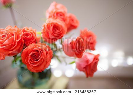Luxury bouquet made of red roses in flower shop Valentines Bouquet of red roses. Close-up.