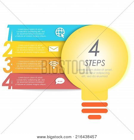 Light bulb round infographic template. Idea lamp concept with 4 step for graph, presentation, chart.