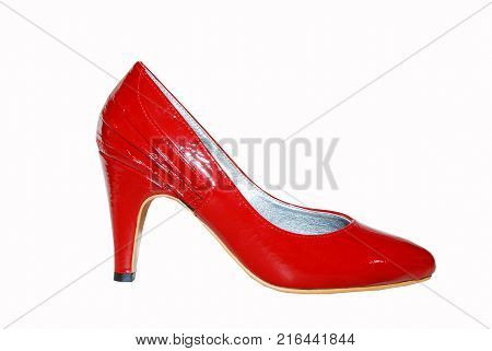 Woman elegant red shoe isolate on white
