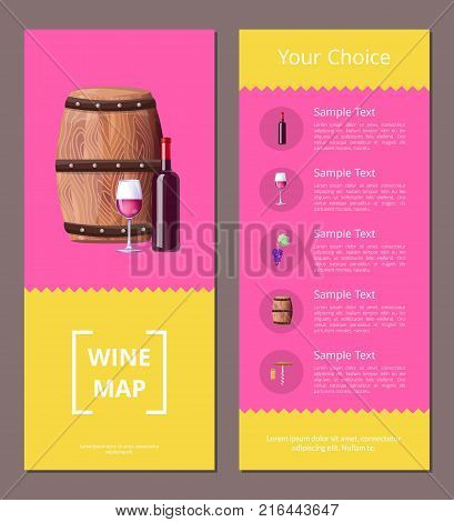 Wine map and your choice advantages colorful poster with bottle, glass of red wine and wooden barrel. Vector illustration with winemaking symbols on pink