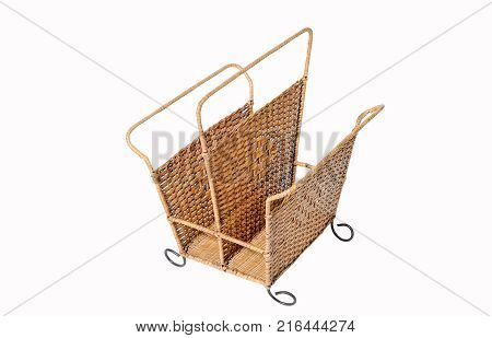 close up wicker basket isolate on white background