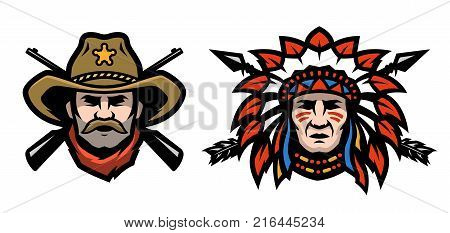 Head of cowboy and Indian Vector illustration.