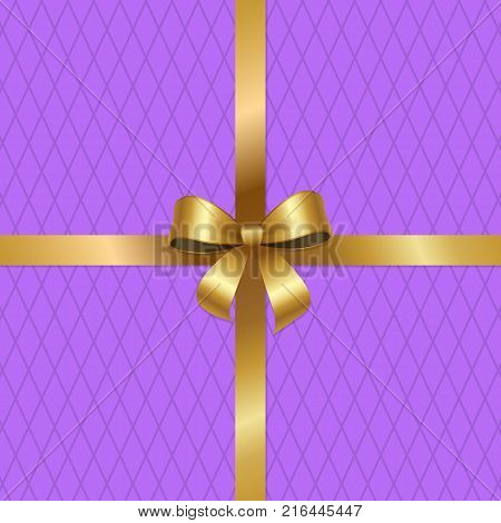 Tied gold bow on crossed ribbons in center of vector isolated on purple background with rhombus. Decorative element for wrapping paper, gift card