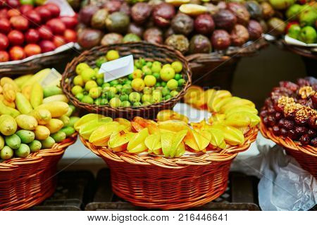 Exotic Fruits On Farmer Market In Funchal, Madeira, Portugal
