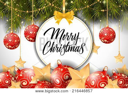 Merry Christmas lettering on bauble-shaped tag with fir sprigs and baubles. Calligraphic inscription can be used for greeting cards, festive design, posters, banners.