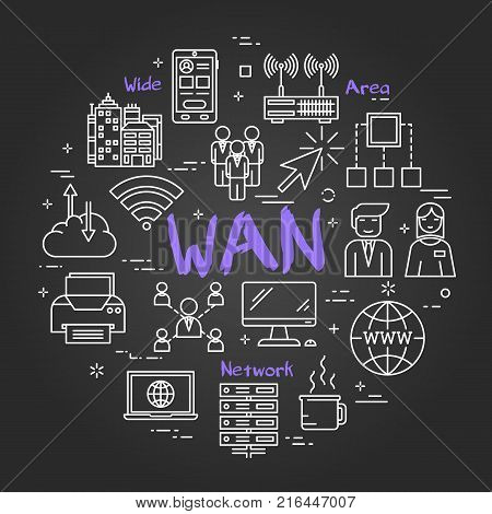 Vector linear round concept of Wide Area Network . Thin line icons of WAN, Internet technologies, computer networks, secure connection. Modern web banner on on black chalk board