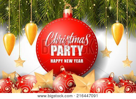 Christmas Party and happy New Year lettering on bauble-shaped tag with fir sprigs and baubles. Calligraphic inscription can be used for greeting cards, festive design, posters, banners.