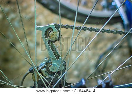Bicycle detail view of rear wheel with chain and sprocket
