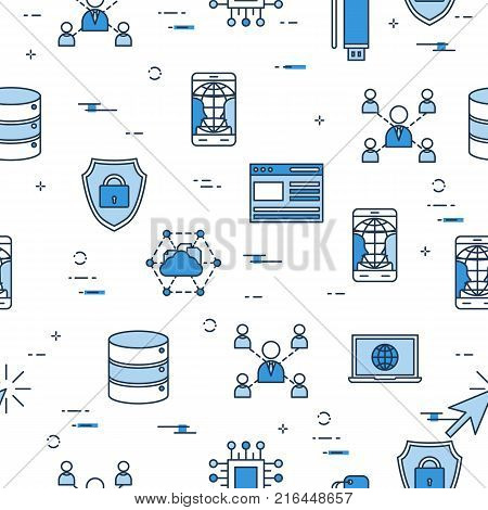 Vector Seamless Pattern with Internet Technology icons . Browser, online cloud, smart phone and computer connected to www blue icons on white background