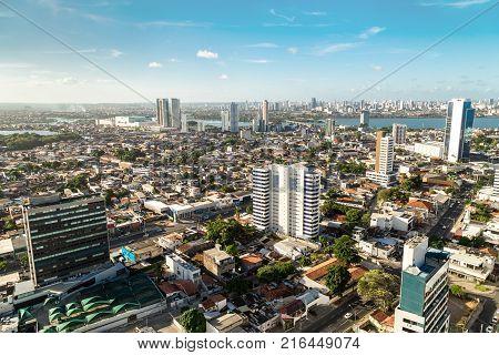 Recife, Brazil - December 02, 2017: High view of the Boa Viagem, Recife city in Pernambuco.