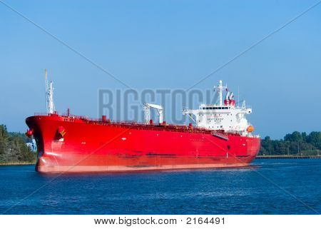 Huge Red Oil Tanker