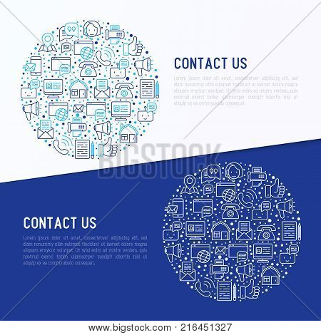 Contact us concept in circle with thin line icons of telephone, fax, operator call center, e-mail, chat bot, pointer, feedback. Modern vector illustration for banner, web page, print media.