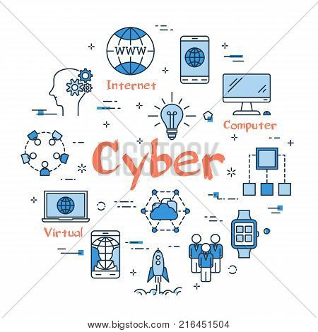 Vector linear blue round concept of Cyber technology. Thin line icons of computer, modern devises connected to internet. Modern web banner on white background