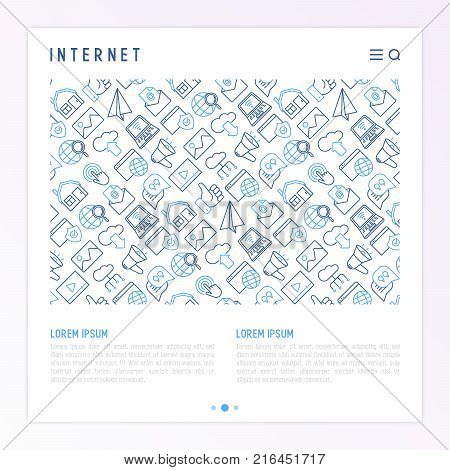 Internet concept with thin line icons: e-mail, chat, laptop, share, cloud computing, seo, download, upload, stream, global connection. Modern vector illustration for web page.