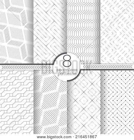 Set of vector seamless patterns. Modern stylish geometric textures. Infinitely repeating geometrical ornaments with thin linear shapes: zigzag rhombus diamond dashed lines rectangle hexagon