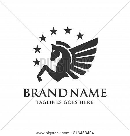Winged Pegasus with stars logo vector illustration. Stylized Pegasus mythical creature silhouette, horse winged logo vector,